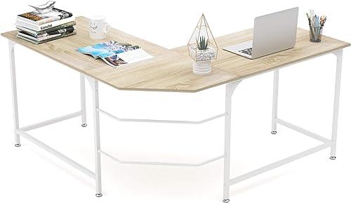 popular Elephance L Shaped Desk Corner Computer Desk Gaming Table popular Workstation lowest for Home Office (Large, Beige) outlet sale