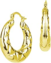 Puffy Zig Zag Pattern Gold Tone Shrimp Hoop Earrings