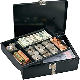 Master Lock 7113D Cash Box with Money Tray and Key Lock, 1 Pack, Black