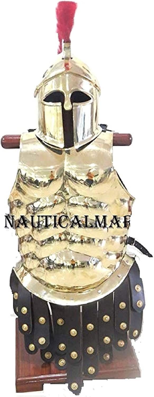 NAUTICALMART Brass Greek Cuirass with Greek Corinthian Helmet Apron Belt Red Plume