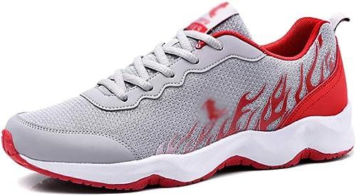 ZYFA Randonnée Chaussures de Course Hommes, paniers à Lacets en Maille, Chaussures de Course à Pied, Chaussures de Sport à Semelles épaisses (Couleur   C, Taille   39)
