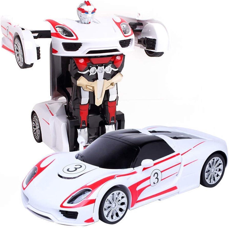 YOOCR RC Auto Roboter Elektroantrieb Fahrzeug Auto EIN-Knopf-Verformungsroboter Mit Ton und Licht Singen Kinderspielzeugauto RC ElektroautGoldboter Kinder