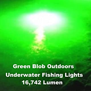 Green Blob Outdoors Fishing Light New (Green, Blue, White, or Multi), Dock Underwater LED, w/ 30ft Cord, LED, Fish Attractor, Crappie, Snook, Bass, Catfish (15,000 3-Prong Plug, Green)