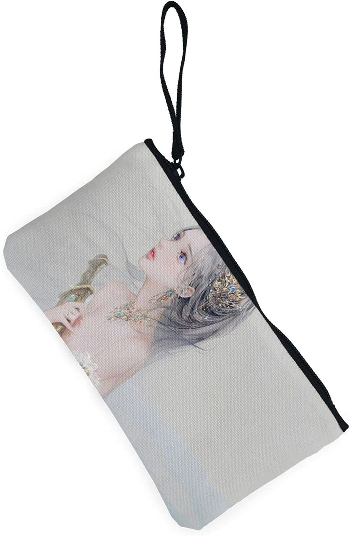 AORRUAM Mermaid Princess Ice Dagger Canvas Coin Purse,Canvas Zipper Pencil Cases,Canvas Change Purse Pouch Mini Wallet Coin Bag