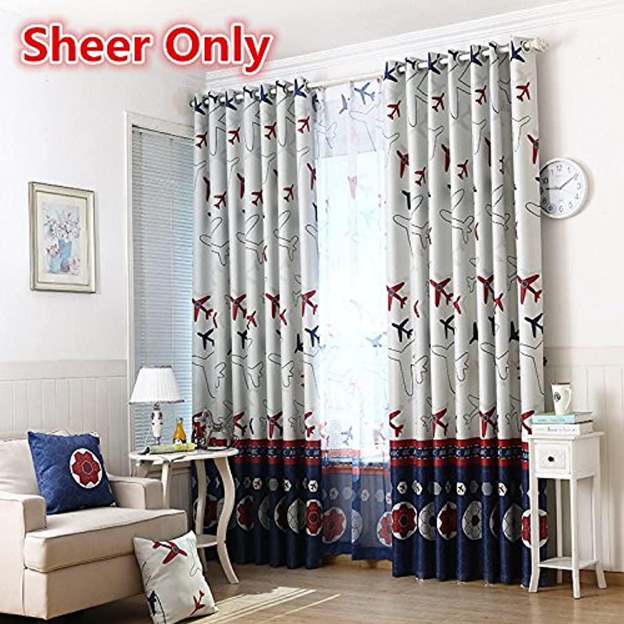 WPKIRA Kids Room Machine Washable Rod Pocket Top Cartoon Children Curtains Airplane Printed Sheer Willow Panel Drape For Boys Bedroom, 1 Panel W39 x L63 inch