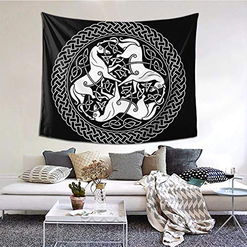 Pshhdgyhs Qinegnly Wall-Mounted Art Tapestry Celtic Epona Knot with Horses is Used for Mural Decoration in Bedroom, Living Room and Dormitory