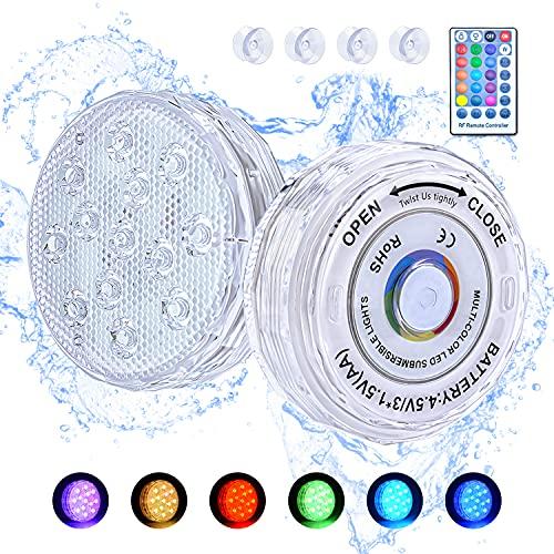 BlueFire Pool Unterwasser Licht, 2 Stück LED Poolbeleuchtung Unterwasser Magnetisch mit Fernbedienung Timer Saugern, RGB Farbwechsel 13 LED Licht Wasserdicht IP68 für Schwimmbad, Teich, Vase, Garten