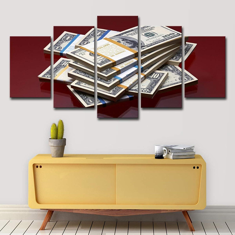 A la venta con descuento del 70%. KISlink Decoración de Parojo Impresión Impresión Impresión en Lienzo Dinegro Dólares Novedad Fantasía Decoración de Arte en la Parojo 5 Partes Imágenes modulares Marco de Madera Listo para Colgar, A, 20x30x220x40x220x50x1  mas barato