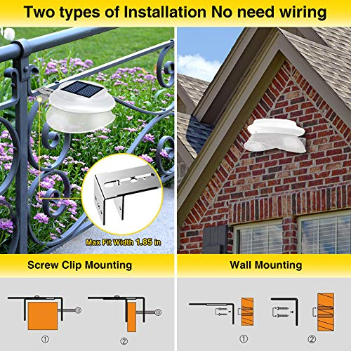 Solar Gutter Lights,Outdoor 9 LED Fence Light Waterproof Security Lamps for Eaves Garden Landscape Pathway (Cool White, 6 Pack)
