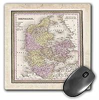 3drose LLC 8x 8x 0.25インチ古い1850のデンマークのマップマウスパッド(MP 56943_ 1)