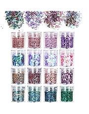 URAQT 16-delige dikke glitter schoonheidsset voor lichaam, wangen en haar, festival en feest, gezicht en nagels, schoonheidsmake-up, B