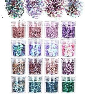 URAQT 16-delige dikke glitter schoonheidsset voor lichaam, wangen en haar, festival en feest, gezicht en nagels, schoonhei...