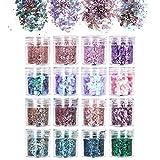 URAQT 16 Colores Purpurinas Polvo, Chunky Glitter Flakes Paillette Brillante Decoración para Cara Maquillaje Pelo Arte Corporal Uñas y Mejilla-A
