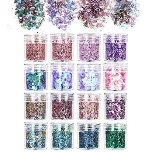 16 Colori Glitter Cosmetici, URAQT Glitter Cosmetici per 3D Corpo Decorazioni per Capelli Decorativi, Face, Unghie, Guance