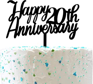 Happy 20th Anniversary Cake Topper,20th Happy Birthday/Wedding/Retirement Anniversary Party Decorations