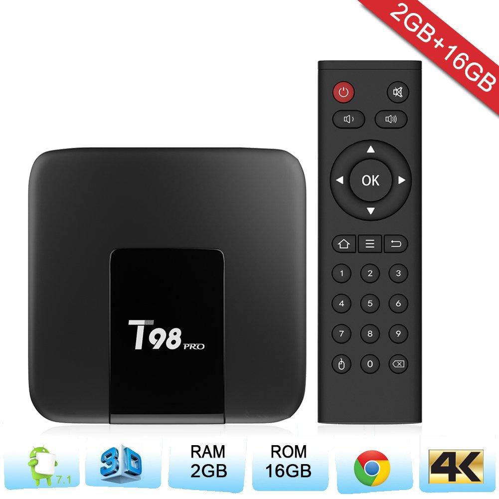 Zenoplige T98PRO Android TV Box Android 7.1 Marshmallow 2G 16G 4K H.265 64BIT DLNA WiFi LAN Smart TV Box: Amazon.es: Electrónica