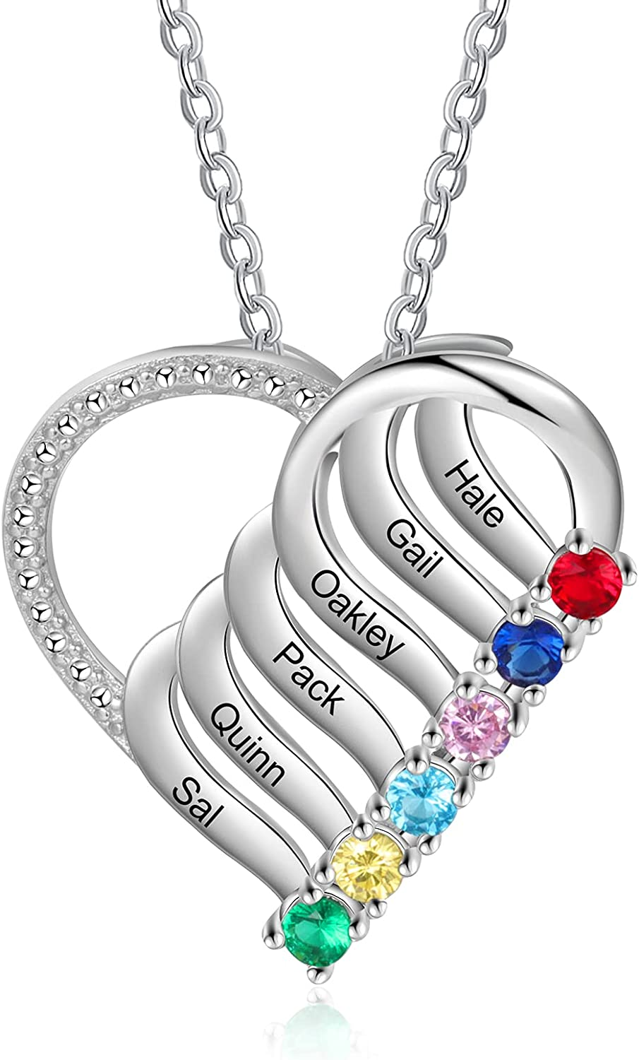 cheap Grandma Max 76% OFF Heart Necklace with 4 Birthstones Simulated Personalized