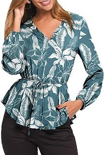 Beecm Blouse - Maglietta a maniche lunghe da donna con scollo a V e foglia di loto, a maniche lunghe, con stampa