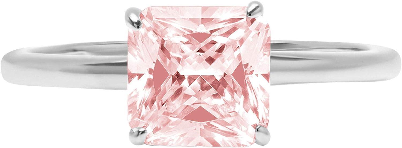 2.5 ct Brilliant Asscher Cut Pink Topics on TV Solitaire Simulated Diamond CZ Japan's largest assortment