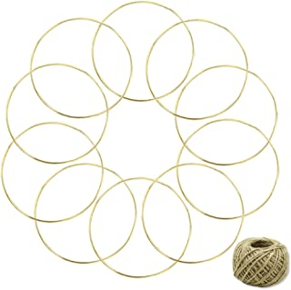 Coceca 10pcs 6 Inch Gold Dream Catcher Metal Rings, Metal Hoops for Dream Catcher and Crafts, with 164ft Jute Twine as Gift