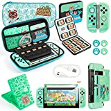 SOMAN Case for Nintendo Switch with Animal Crossing,Switch Accessories Bundle - Carry Case & Protective Case Cover,Screen Protector & Thumb Grips, Game Card Case & PlayStand,Charging Cable