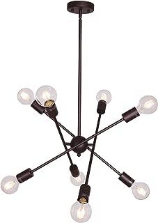BONLICHT Oil-Rubbed Bronze Sputnik Chandeliers 8 Light Vintage Industrial Semi Flush Mount Ceiling Light Mid Century Modern Pendant Lighting for Kitchen Dining Room Foyer Hallway