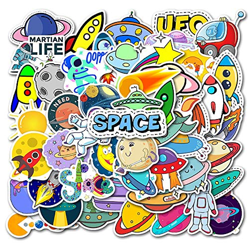 YZFCL Space Planet Alien Stcikers DIY Motorcycle Travel Luggage Phone Skateboard Waterproof Classic Toy Cool Sticker 50pcs