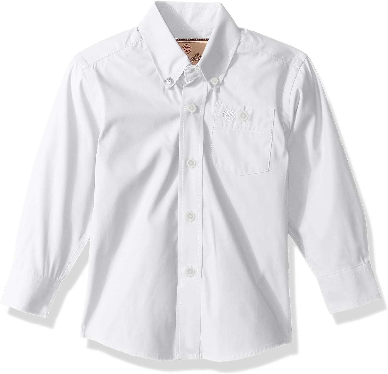 Wrangler boys Classic One Pocket Long Sleeve Button Shirt