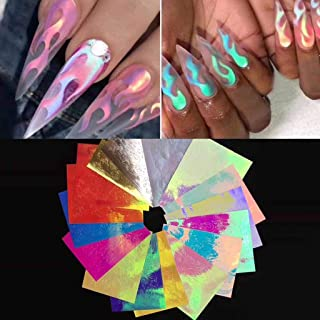 DZT1968 16 PCS Flame Reflections Nail Art Stickers,Nail Art Water Transfer Tape Adhesive Sticker Decal DIY Decoration,No Pollution And No Hurt(8x6cm, Multicolor) (A)