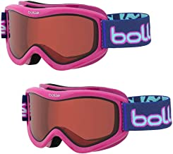 Bolle Volt Snow/Ski Goggles for Kids Ages 6+   2-Pack   Pink Confetti Frame/Vermillon Lens   Anti-Fog Double Lens   Flow-Tech Venting