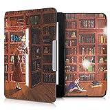 kwmobile Schutzhülle kompatibel mit Amazon Kindle Paperwhite - Hülle Kunstleder eReader (für Modelle bis 2017) - Magische Bibliothek Mehrfarbig