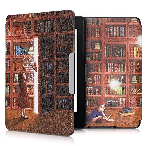 kwmobile Carcasa Compatible con Amazon Kindle Paperwhite - Funda para Libro electrónico con Solapa - Biblioteca mágica
