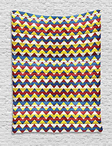 ABAKUHAUS Cheurón Tapiz de Pared, Cheurón en Colores Retro Figuras Geométricas Simples Escudo de Armas Símbolo, para el Dormitorio Apto Lavadora y Secadora Estampado Digital, 100 x 150 cm, Verde