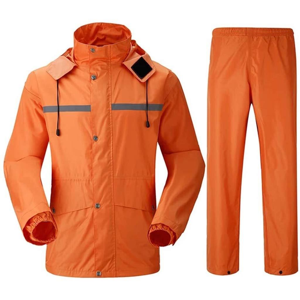 WANGJUNXIU Poncho imperméable Imper Et Un Pantalon De Pluie Costume, Veste Réfléchissante Extérieur Unisexe, Imperméable Et Coupe-Vent Divisé Imper (Color : Orange, Size : XL)