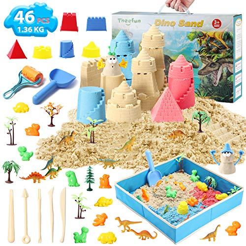Theefun Magic Sand Set, 1360g 3 Farben Space Sand kit, magischer Sand, ungiftiges kinetischer Sand für Kinder Set, Geschenke zum Geburtstag, Weihnachten, Kindertag Party für Jungen Mädchen 3+ Jahre
