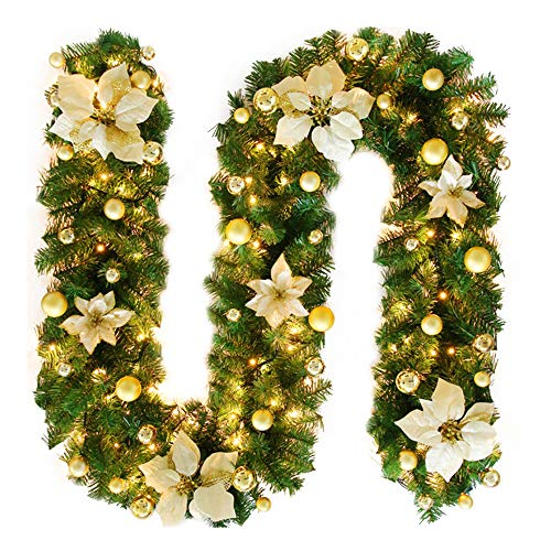 TDCQ Guirnalda de Navidad,Chimeneas Escaleras Guirnaldas Decoradas Luces,Guirnalda de Pino Artificial,Guirnalda de Navidad Artificial,Guirnalda Navideña Decorada (Dorado)