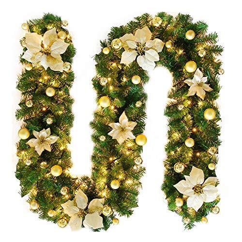 TDCQ Tannengirlande Weihnachtsdeko,Tannengirlande Künstlich Led,Tannengirlande mit Lichterkette,Tannengirlande,Weihnachten Girlande Tanne,Weihnachtsgirlande