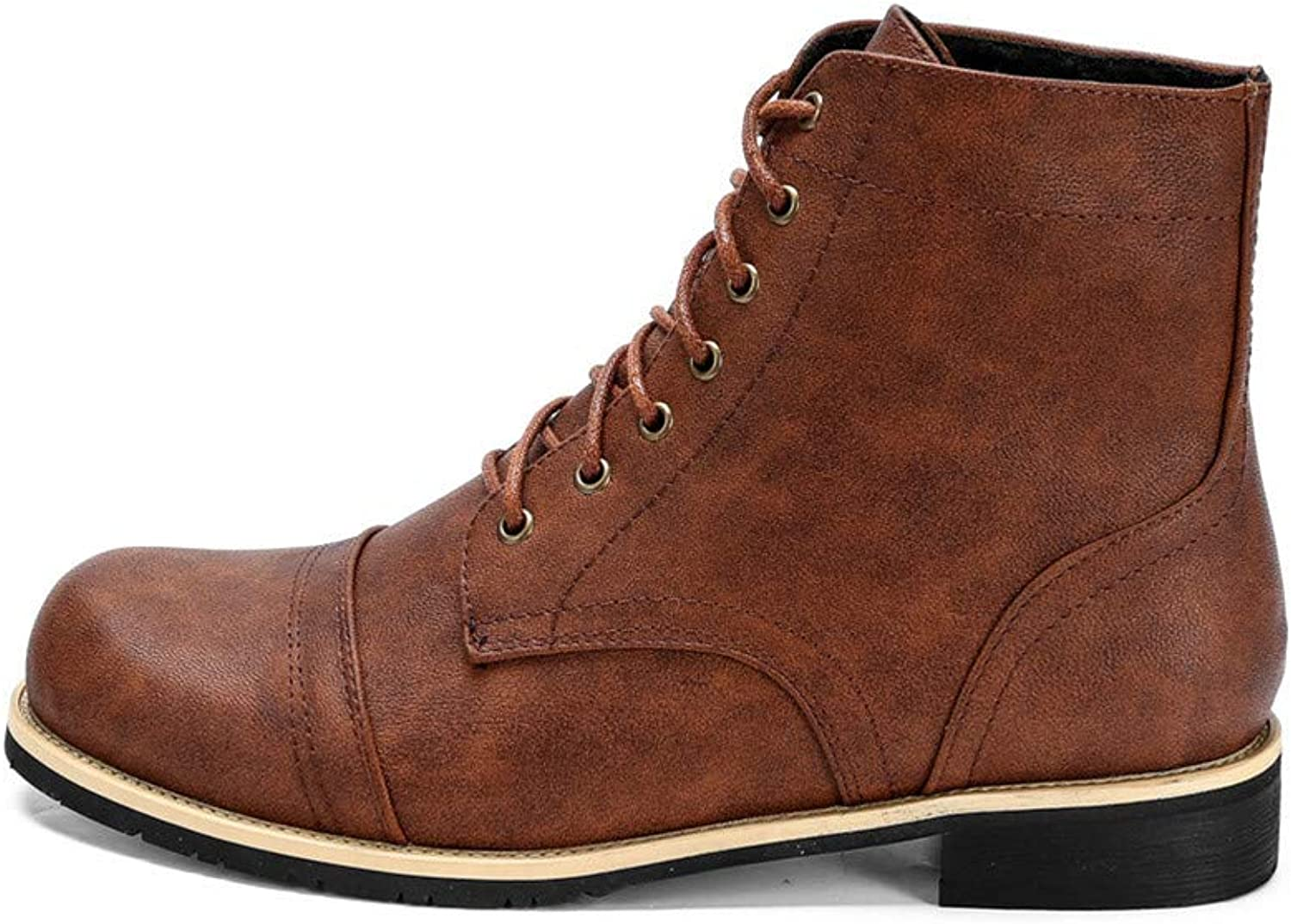 Jiahe Ankle Boots shoes for Men Lace Up Waterproof Leather Martin Boots Locomotive shoes Large Size Men's Boots,C,48