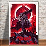 Krieger Anime Cartoon Comic Poster Wandkunst Leinwand Wohnzimmer Wandbild Home Decoration,Rahmenlose...