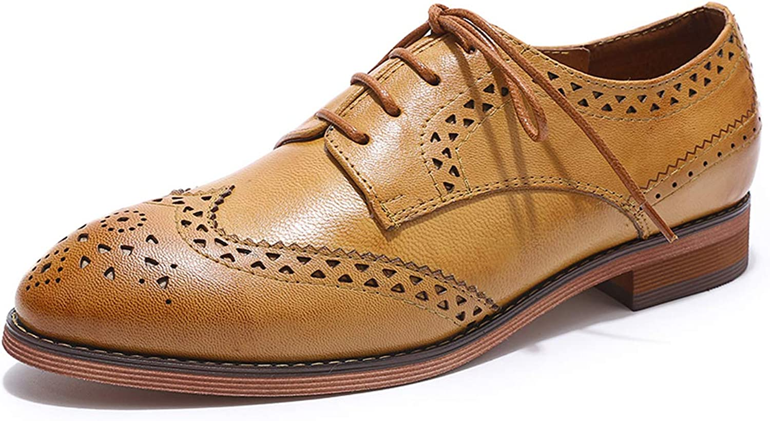 MIKCON Women's Leather Perforated Lace-up Oxfords shoes for Women Wingtip Multicolor Brougue shoes