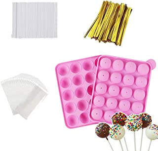 Akingshop 20 Cavity Silicone Cake Pop Mold Set - Lollipop Mold with 60Pcs Cake Pop Sticks, Candy Treat Bags, Gold Twist Ti...