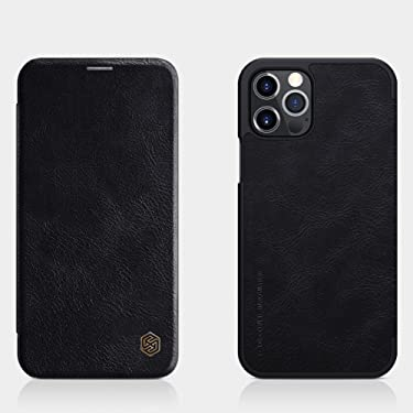 """Nillkin Case for Apple iPhone 12 / Apple iPhone 12 Pro (6.1"""" Inch) Qin Genuine Classic Leather Flip Folio + Card Slot Black Color"""