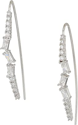 Betsey Johnson Blue by Betsey Johnson Silver and CZ Stone Linear Earrings
