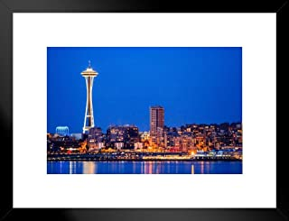 Poster Foundry Downtown Seattle Skyline at Night Space Needle Photo Matted Framed Art Print Wall Decor 26x20 inch