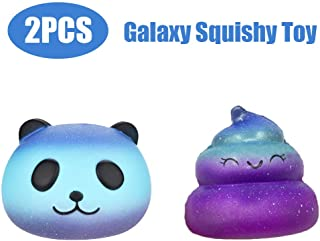 Set of 2,Xuways Squishies,Galaxy Panda Head & Starry Poo Sweet Scented Squishies Slow Rising Kids Toys Doll, Toy for Birthday Gift, Collection, Stress Relief, Decorative Props