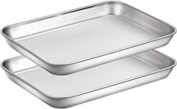 Bakeware 2 Pcs Baking Sheets Set Chef Cookie Sheets Stainless Steel Baking Pans Toaster Oven Tray Pans Easy Clean Baking D...