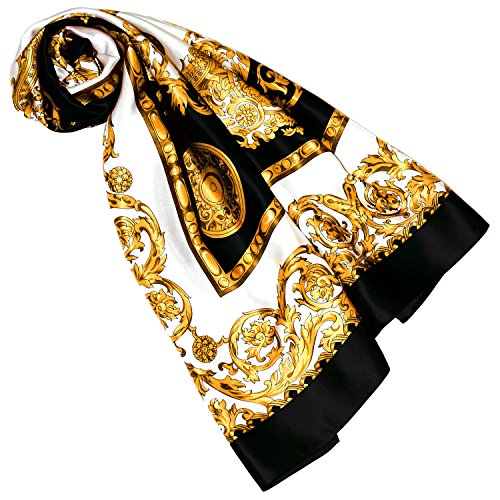 Lorenzo Cana Luxus Damen Seidentuch aufwändig bedruckt Tuch 100% Seide 100 cm x 100 cm Silk Damentuch gold schwarz weiss Schaltuch 8900188