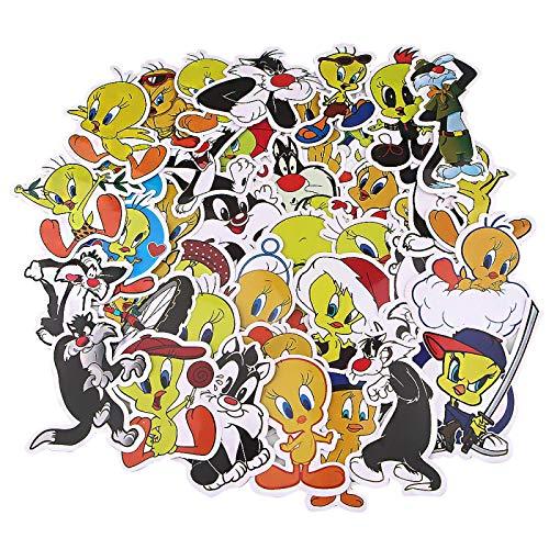 WYZNB 38 pz Carino Grande Sciocco Gatto E Tweety Cartoon Adesivi Decorativi Impermeabile Pvc Adesivi Per Auto Computer Portatile Telefono Mobile Skateboard Valigia