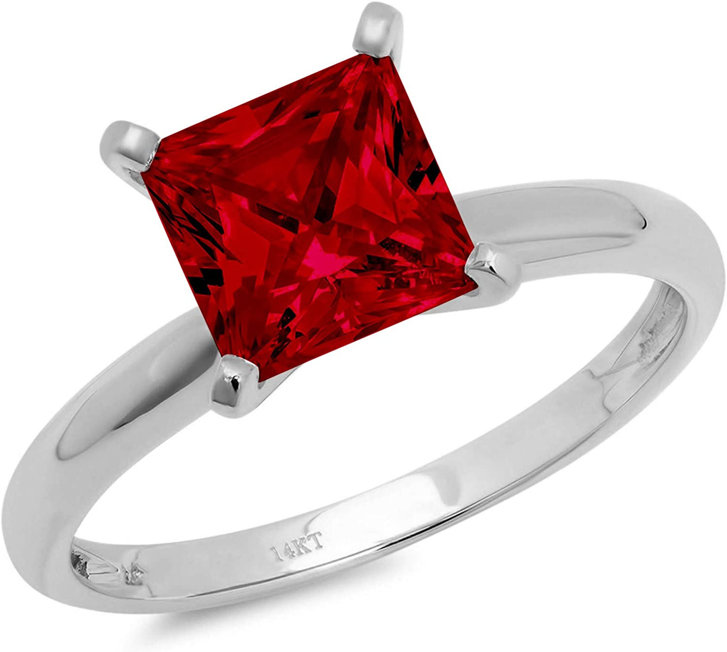 0.4ct Brilliant Princess Cut Solitaire Natural Crimson Deep Red Garnet Ideal VVS1 4-Prong Engagement Wedding Bridal Promise Anniversary Ring Solid 14k White Gold for Women