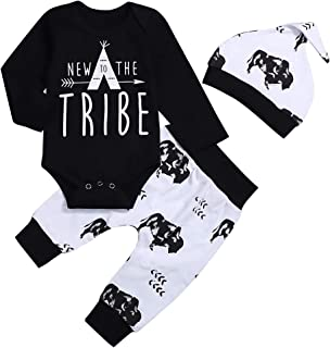 Baby Boy Clothes New to The Tribe Letter Prints Romper Bodysuit Long Pants Outfits Set